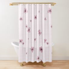Pretty Blossom on Pink and White Checkered Background Shower Curtain