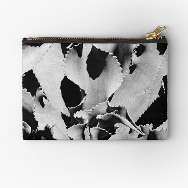 Succulent in black and white Zipper Pouch