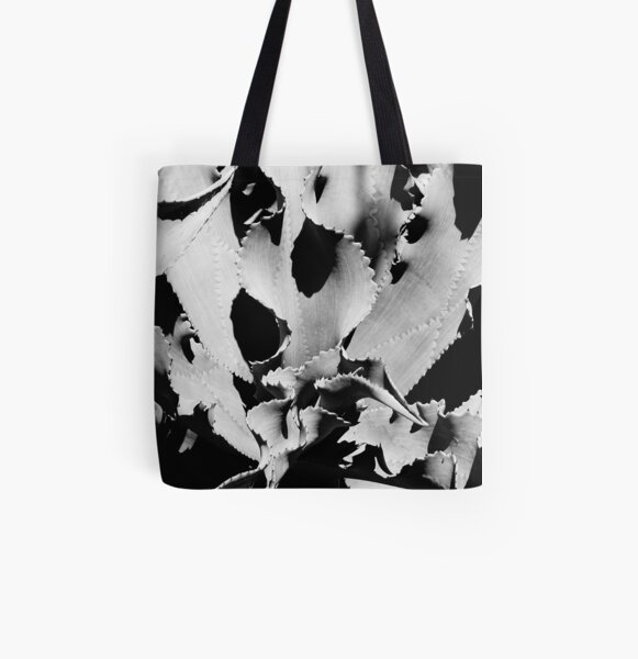 Succulent in black and white All Over Print Tote Bag
