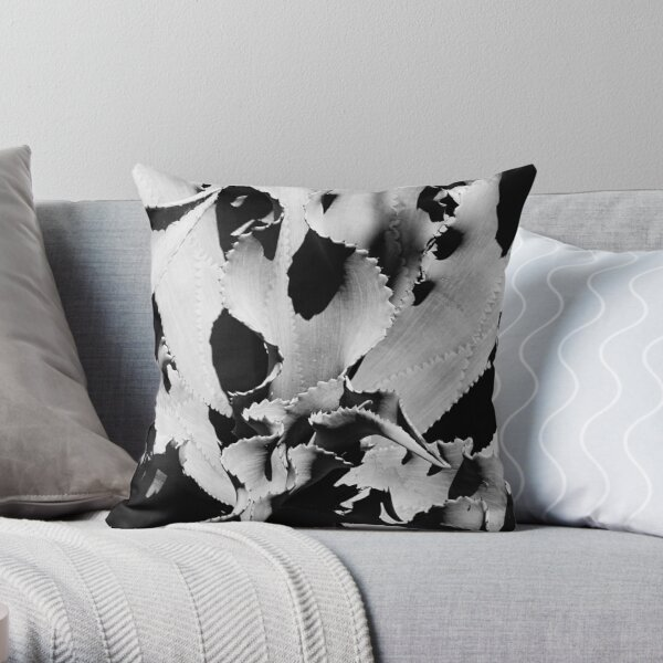 Succulent in black and white Throw Pillow