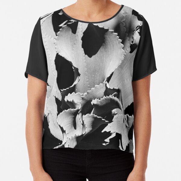 Succulent in black and white Chiffon Top
