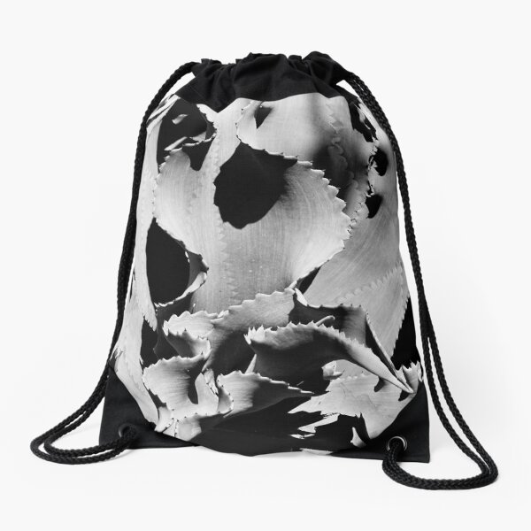 Succulent in black and white Drawstring Bag