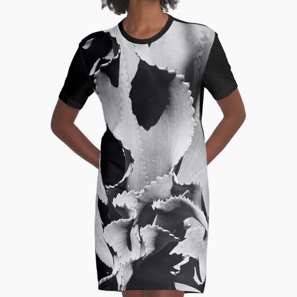 Succulent in black and white Graphic T-Shirt Dress