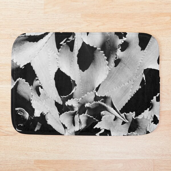 Succulent in black and white Bath Mat
