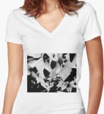 Succulent in black and white Fitted V-Neck T-Shirt