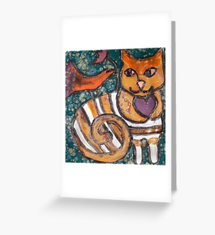 Peace Plate: Cat, Bird & Flower Greeting Card