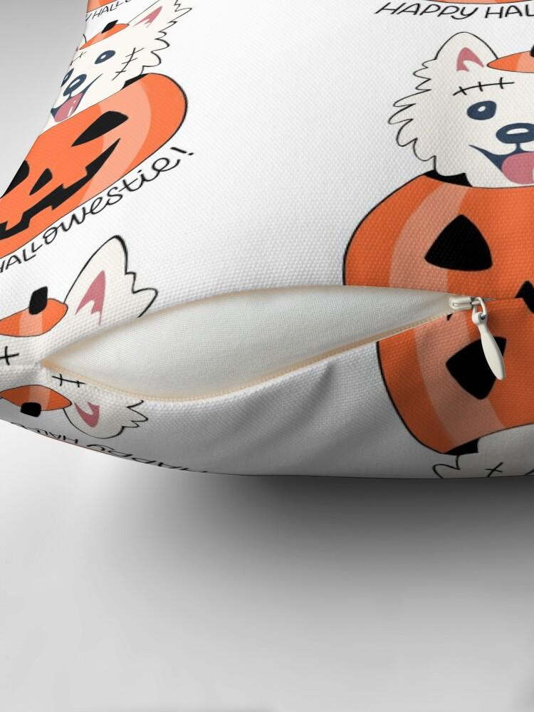 Alternate view of Happy Hallowestie! Throw Pillow