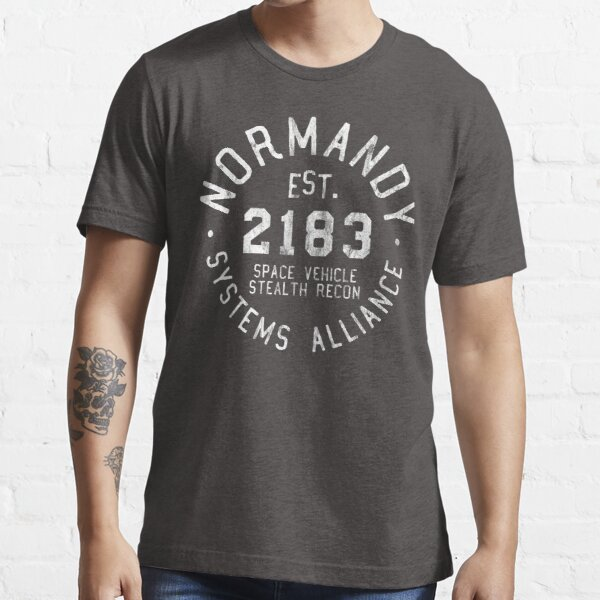 SSV Normandy Athletic Shirt   Mass Effect Athletic Style   White Print Essential T-Shirt