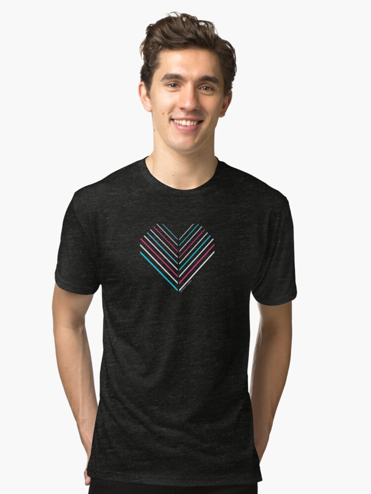 Alternate view of Neon Trans Heart Tri-blend T-Shirt