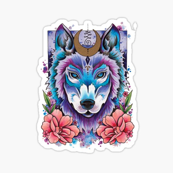 Moonlight Wolf watercolor design Sticker