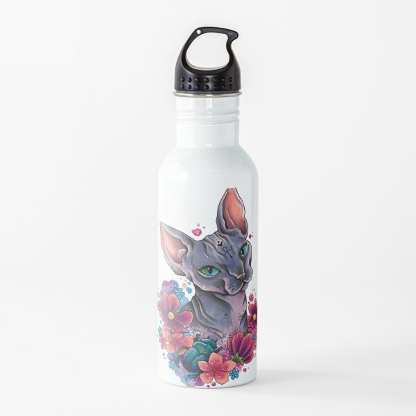 Neo Traditional Sphynx Cat watercolor design Water Bottle