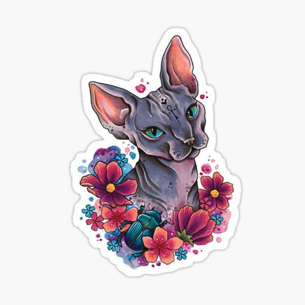 Neo Traditional Sphynx Cat watercolor design Sticker