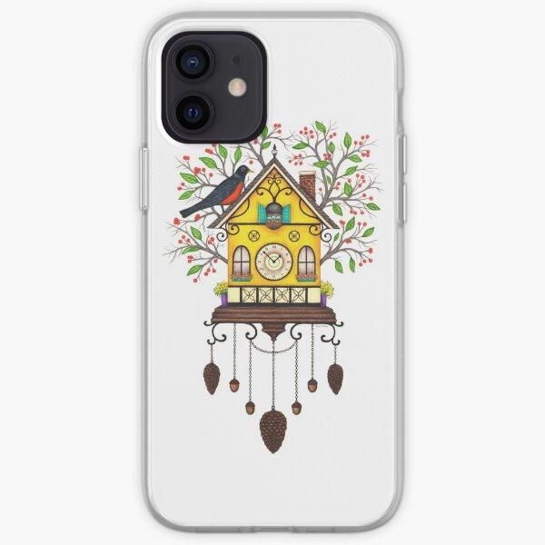 Reloj de cuco Robin House para pájaros Funda blanda para iPhone