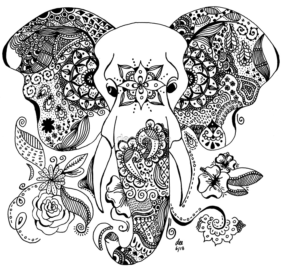 Gajah Zentangle By Dee Tangle Redbubble