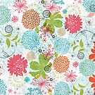 Cute Colorful Retro Flowers Collage by artonwear