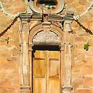 """Iglesia"" - Oil painting of an old Mexican door by James  Knowles"