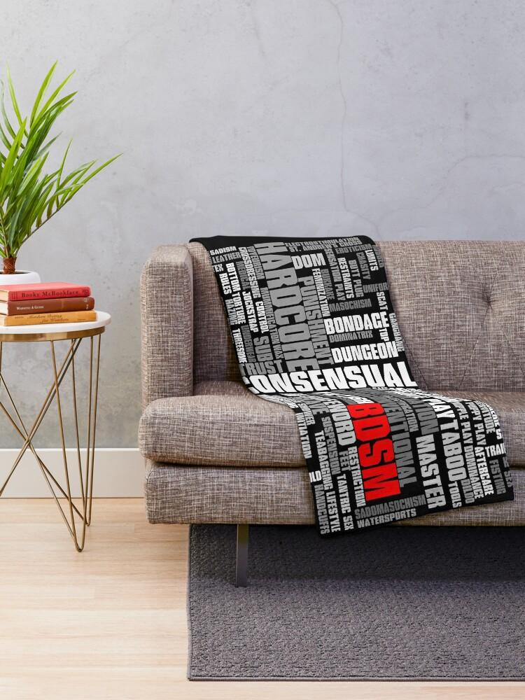 Alternate view of BDSM words cloud Throw Blanket