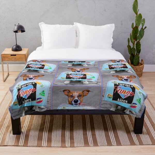 Puppy Dog with Buenos Aires Tango Suitcase - Rectangle Throw Blanket
