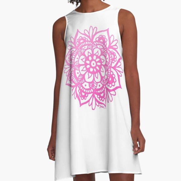 Bright Pink Mandala Flower A-Line Dress