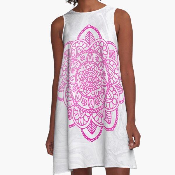 Pink Mandala on White Marble A-Line Dress
