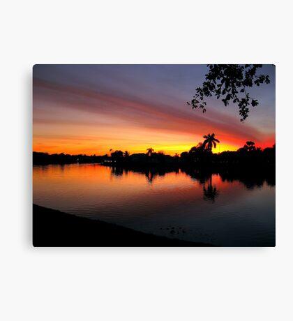 Sunset over Man Made Lake Canvas Print