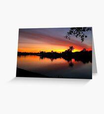 Sunset over Man Made Lake Greeting Card