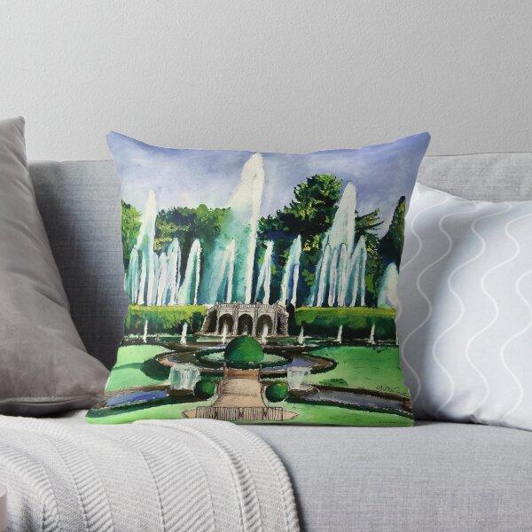 Longwood Main Fountain Garden Throw Pillow