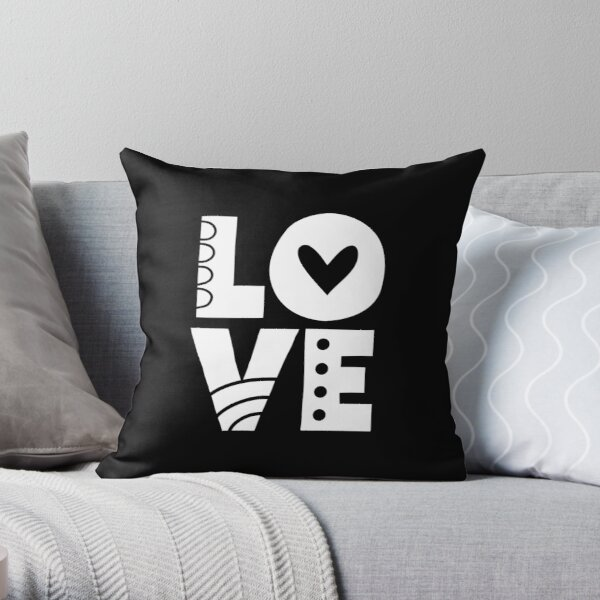 White Love Letters Throw Pillow