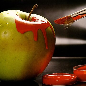 Apple: a green apple with the desire to be beautiful, red and ripe. by JeanLender