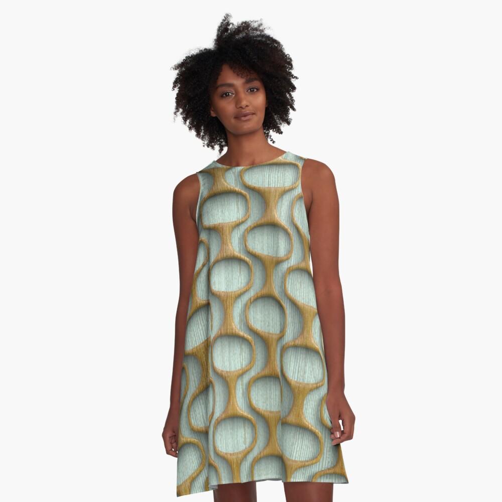 60s Mod Woodwork A-Line Dress