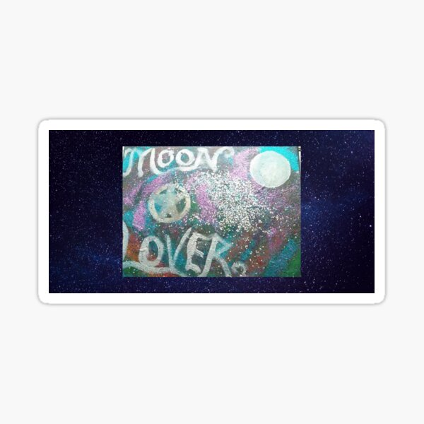 moon lover acrylic painting  Sticker