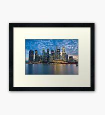 Singapore City, Financial District, Marina Bay, Sunset Framed Print