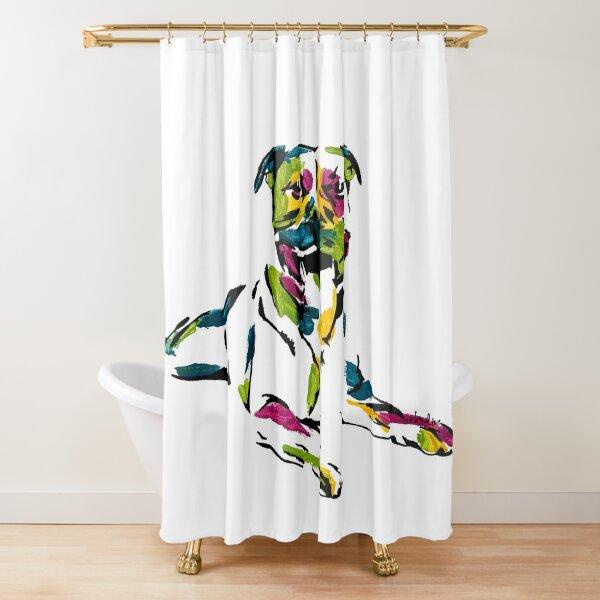 Boris the Staffordshire Terrier *dark Shower Curtain