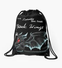 Black Wings (White Lettering) Drawstring Bag