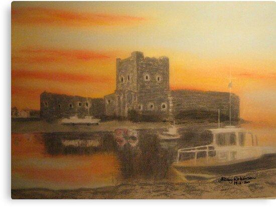 Carrickfergus Castle at dawn by Hilary Robinson