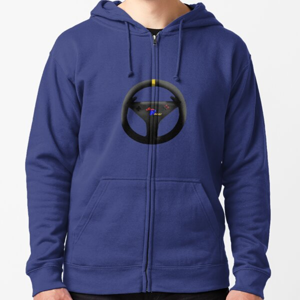 Sim Racer Steering Wheel-Multicolor Zipped Hoodie