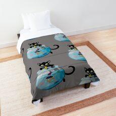 Black Cat Feeding Halloween Goldfish Comforter