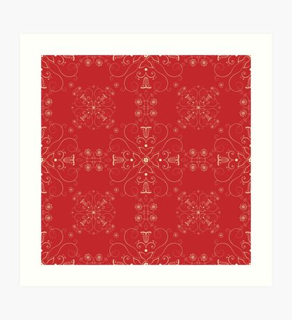 Arabesque pattern in red and gold Art Print