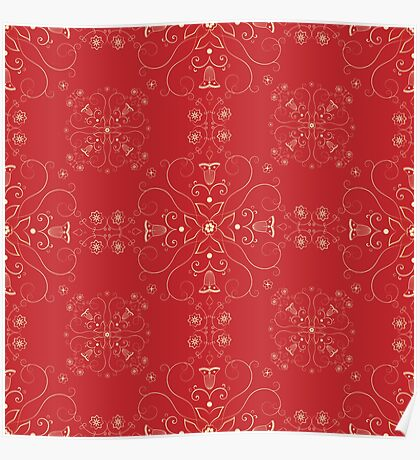 Arabesque pattern in red and gold Poster