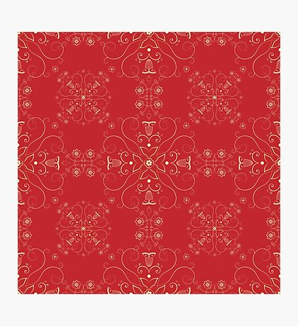Arabesque pattern in red and gold Photographic Print