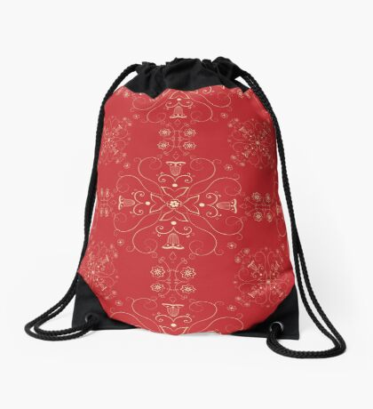 Arabesque pattern in red and gold Drawstring Bag