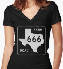 Texas Farm Road 666 Women's Fitted V-Neck T-Shirt