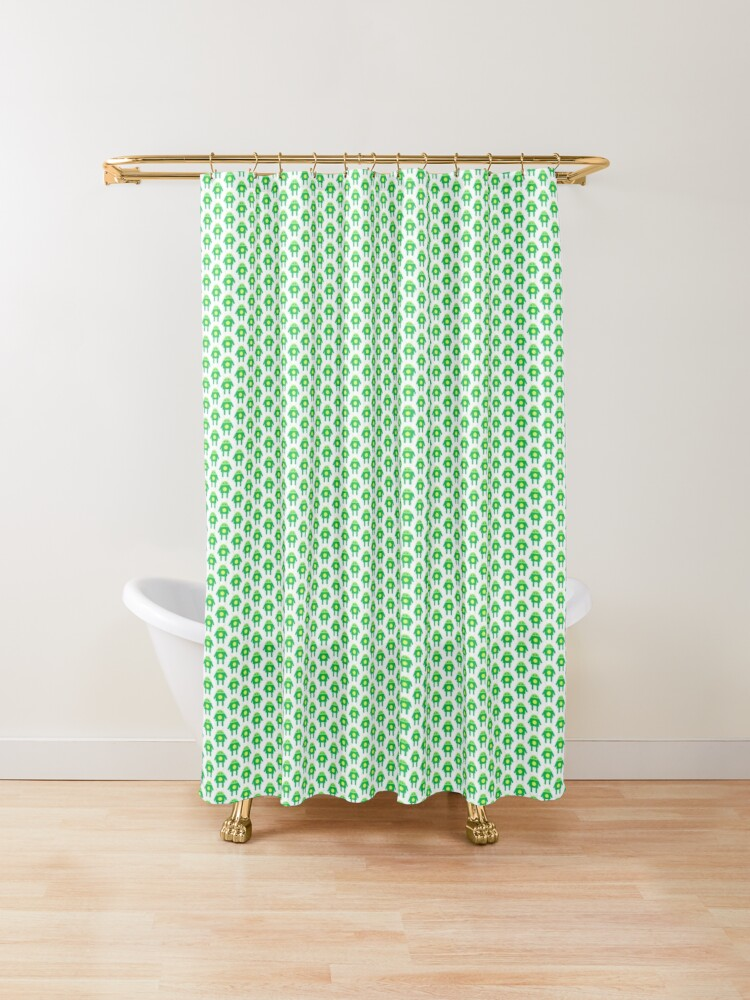 Green Robot Shower Curtain By Thelouisa Redbubble