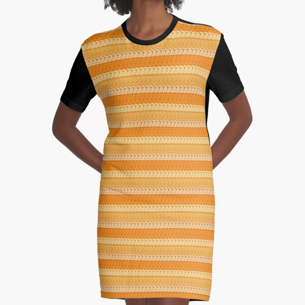 Faux double crochet stitch pattern with orange and yellow hues Graphic T-Shirt Dress