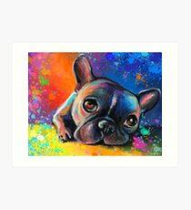 Whimsical French Bulldog painting Svetlana Novikova Art Print
