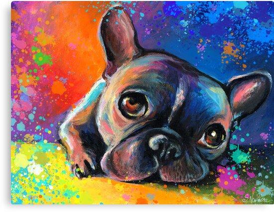 Whimsical French Bulldog painting Svetlana Novikova by Svetlana  Novikova