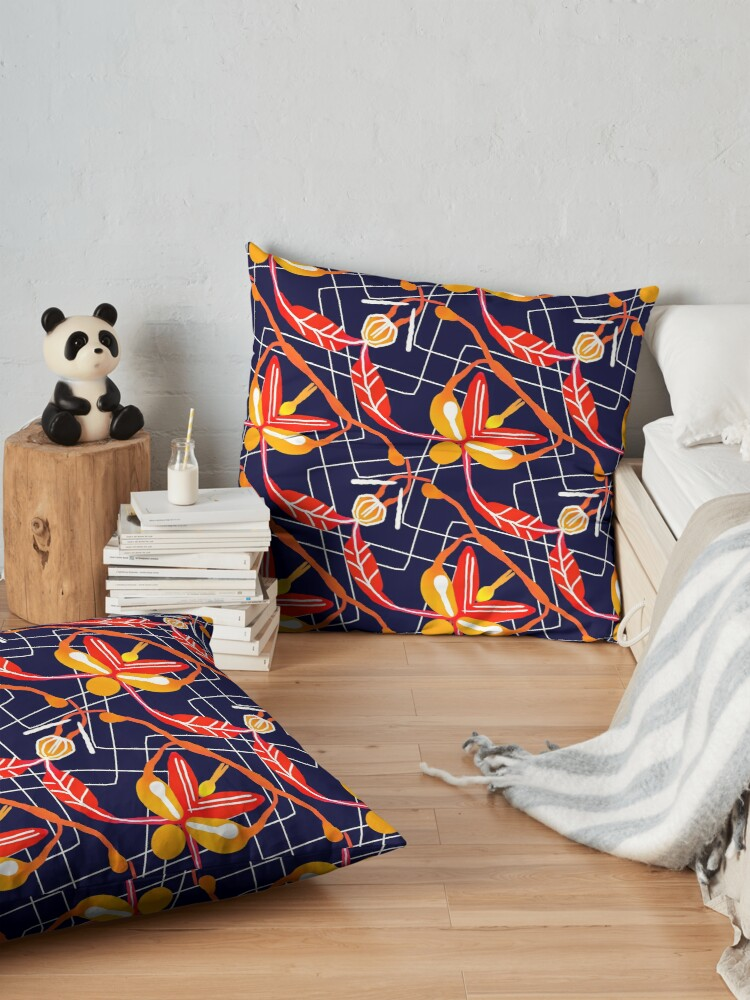 Alternate view of Sunset orchid Floor Pillow