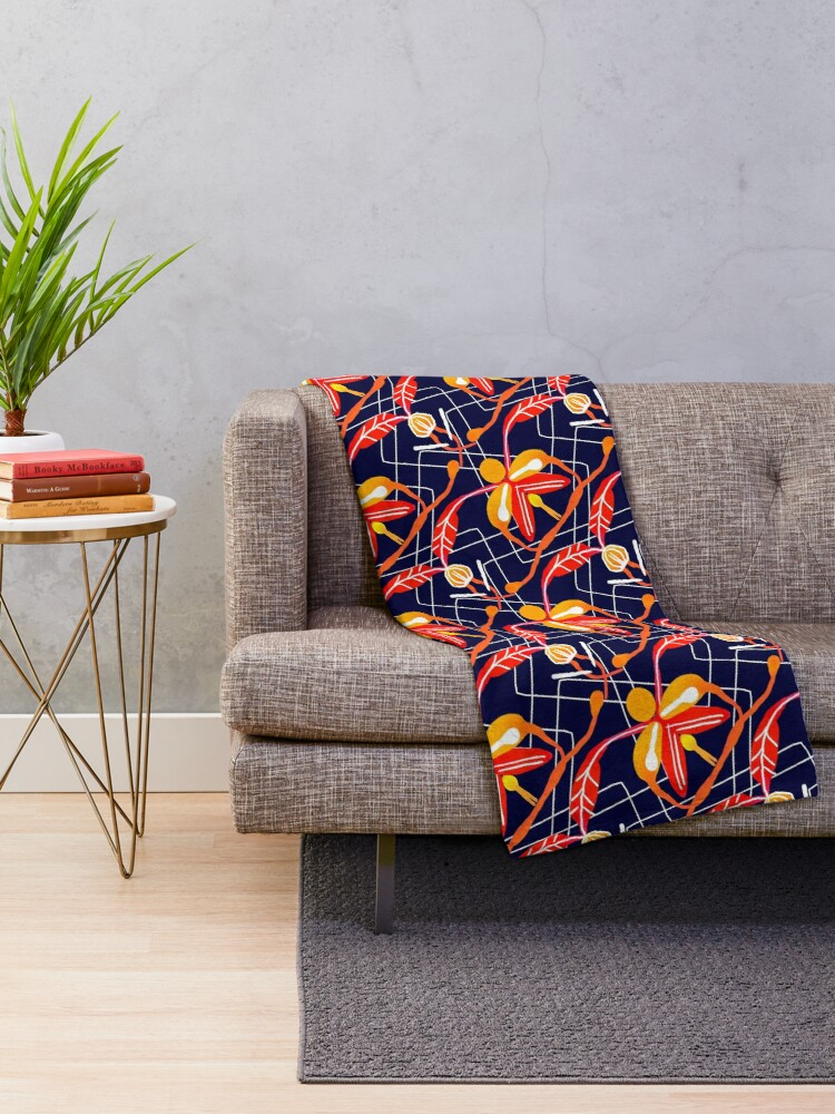 Alternate view of Sunset orchid Throw Blanket