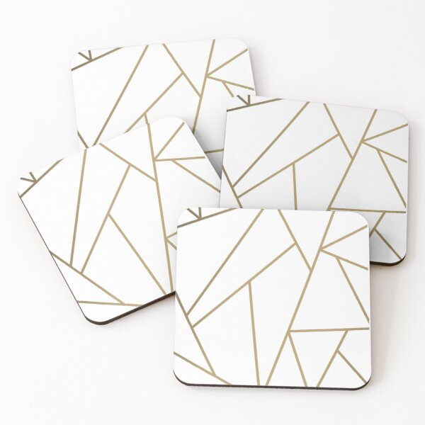 White and golden geometric background Coasters (Set of 4)
