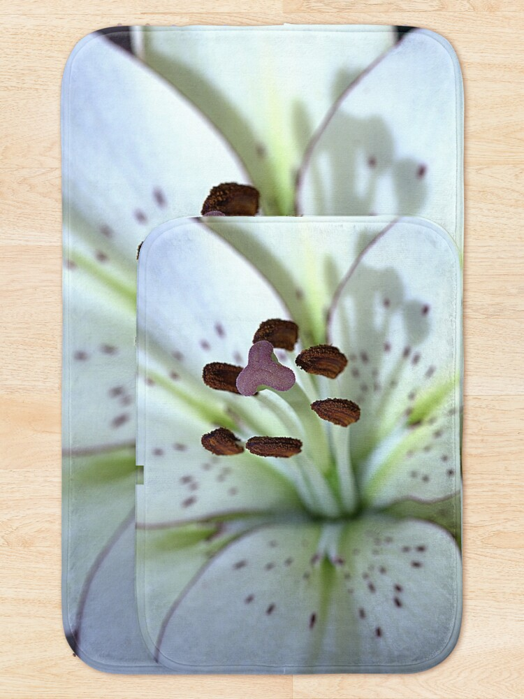 Alternate view of Asiatic White Lily Just Bloomed Oct 2019 Macro Bath Mat